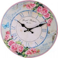 Pink Roses with a Blue Butterfly Large Circular Wall Clock