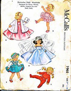 "McCall's Vintage Ginny, Muffie, Alexander-kins Pattern for 8"" Dolls from barbgrrlzdolls on Ruby Lane"
