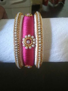To order, pls whatsapp on 94929 91857 Silk Thread Bangles Design, Silk Bangles, Silk Thread Earrings, Bridal Bangles, Thread Jewellery, Beaded Necklace Patterns, Jewelry Patterns, Beaded Jewelry, Bangle Set
