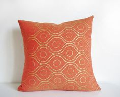 Orange pillow - orange and metallic gold indian inspired organic cotton cushion cover, hand printed throw pillow