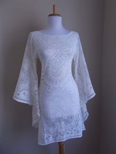 maddyVintage 1960s 1970s Off White Crochet LACE  Angel Bell Sleeve HIPPIE Wedding Mini Dress