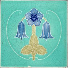 Marsden Turquoise Antique Floral Art Nouveau Ceramic Tile - 1904 - 1906