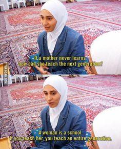A woman is a school