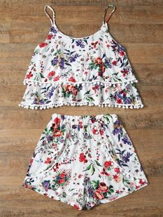 Floral Print Layered Cami Top and Shorts Twinset (Red) Cami Tops, Trendy Fashion, Fashion Outfits, Womens Fashion, 30 Outfits, Two Piece Outfit, Two Piece Skirt Set, Summer Outfits For Teens, Cute Comfy Outfits