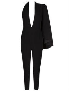 Black Cape Jumpsuit with Plunging Neckline! #slayaccessories #jumpsuit #blackjumpsuit #capejumpsuit #bandagejumpsuit