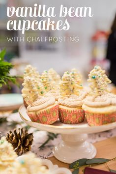 Vanilla Bean Cupcakes with Chai Buttercream Frosting // Feast + West