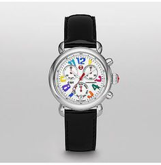 Signature CSX-36 Carousel Black Patent Leather  Multicolored numbers are the focus of our Signature CSX Carousel watch. It also features Swiss chronograph movement and signature Michele touches. The black patent leather strap is interchangeable with any 18mm Michele strap.