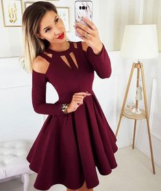 Halter Burgundy Short Homecoming Dresses With Sleeve Party Dresses Burgundy Homecoming Dresses, Gold Prom Dresses, Prom Dresses For Sale, Sexy Dresses, Evening Dresses, Dress Outfits, Bridesmaid Dresses, Dresses With Sleeves, Fashion Outfits
