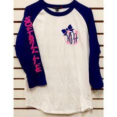 Monogram Softball Life Baseball Jersey ($30) ❤ liked on Polyvore featuring tops, t-shirts, white, women's clothing, baseball jersey tee, baseball style t shirts, checkered shirt, baseball jersey shirts and monogrammed shirts