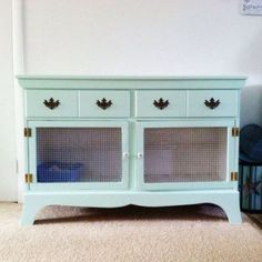 Rabbit Hutches, so cute and you could keep their stuff in the drawers