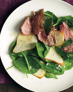 With their robust flavor, lamb chops often benefit from a sweet counterpoint. This salad is no exception, with crunchy sliced pears providing a lovely foil to the gamy meat.