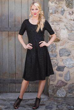 Modest Dresses: Eliza in Textured Patterned Black