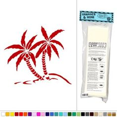 Palm Trees Coconuts - Desert Island - Vinyl Sticker Decal Wall Art Decor - Dark-Red:Amazon:Office Products