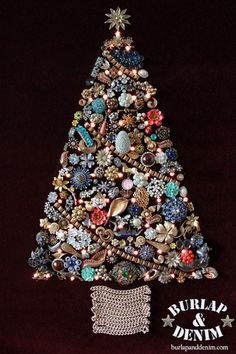 As a child I remember gazing upon my grandmother's costume jewelry Christmas tree. It was so shiny and the Christmas lights made it mezmorizing. My grandmother was very crafty, she made hers at a church activity. This was a popular craft back in the 1970's.  There was a magazine produced with instructions back then!(here is anexcerpt)Check out that tree, wait the hair is what is reallyamazingabout this photo! Ha, ha.Years later I decided that my kids deserve