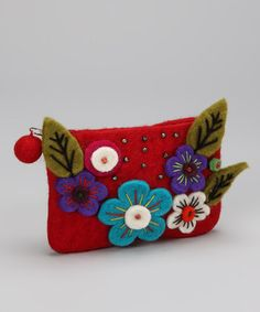 Take a look at this Red Felt Flower Coin Purse by Rising International on #zulily today! $7.99, regular 15.00