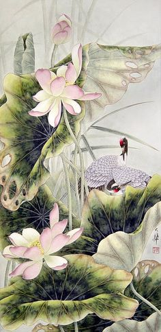 Lou Dahua Chinese Artist~Cranes and lotus