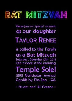Sparkle Celebration (Black) - Bat Mitzvah Invitations