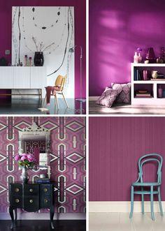 Color Palettes Radiant Orchid - Color of the year 2014 - Interiors, Walls (Orquídea Radiante - a cor Pantone para 2014)