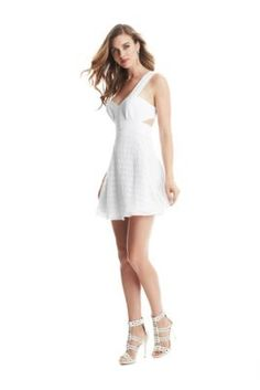 Evette Fit-and-Flare Dress   GUESS.com