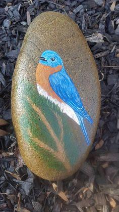 Blue Bird On Stone-Hemlock Bough/Blue Bird Art/Bird