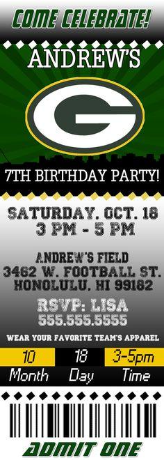 NFL Green Bay Packers Ticket Birthday Invitation