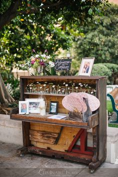 The couple paid tribute to the memory of loved ones with floral arrangements and photos displayed on an antique upright piano. Piano Wedding, Wedding Ceremony, Reception, Diy Craft Projects, Fun Crafts, Wood Projects, Old Pianos, Do It Yourself Projects, Decorating Your Home