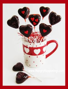 Make Tootsie Pop style lollipops at home using the microwave. These Cherry Heart Pops with Chewy Chocolate Centers are fun to make for Valentine's Day or any day.