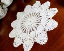 12 Inch Crochet Large Doily or Centerpiece in Light Cream - Hand Crocheted Pineapple Patterned 12276