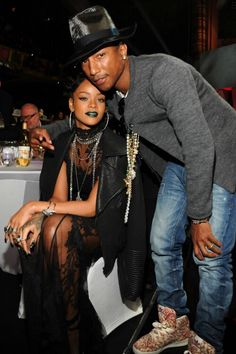 LOS ANGELES, CA - MAY Singers Rihanna (L) and Pharrell Williams appear in the audience at the 2014 iHeartRadio Music Awards held at The Shrine Auditorium on May 2014 in Los Angeles, California. iHeartRadio Music Awards are being broadcast live on NBC. Best Of Rihanna, Rihanna Style, Rihanna Fenty, Rihanna Daily, Pharrell Williams, Music Awards 2014, Phresh Out The Runway, Amigurumi