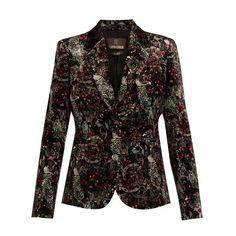 Roberto Cavalli Morris-print velvet blazer ($1,537) ❤ liked on Polyvore featuring outerwear, jackets, blazers, blazer, tops, black multi, patterned blazer, retro jackets, floral jackets and floral-print blazers