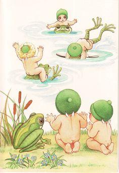 The Gumnut Babies as drawn by May Gibbs, Australian author and illustrator Australian Animals, Australian Artists, Australian Flowers, Children's Book Illustration, Illustrations, Baby Friends, Flower Fairies, Crazy Girls, Baby Art