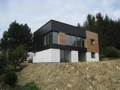 Hausbau-Galerie von Passivhaus150 Style At Home, Shed, Outdoor Structures, Cabin, House Styles, Home Decor, Blue Prints, Building Homes, Architecture