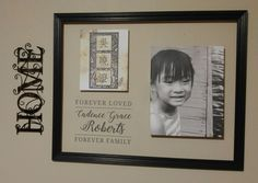 Creating a collage using an old painted frame, canvas prints, and clear lable paper.
