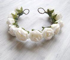 Flower Girl Hair White Wreath flower crown for от PrettyNatali, $20.00