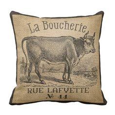 La Boucherie French Cow Burlap Vintage Throw Pillow