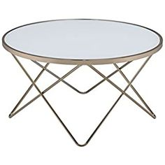 Update your living room with a functional art piece. The valora coffee table uses a mid-century inspired base finished in Champagne supports a framed frosted glass top. Glass Side Tables, White Side Tables, Acme Furniture, Furniture Making, Furniture Ideas, Buy Coffee Table, Round Table Top, Black Glass, Frosted Glass