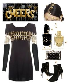 """Cheers!"" by im-karla-with-a-k ❤ liked on Polyvore featuring Giorgio Armani, Salvatore Ferragamo, AURA Headpieces and Charlotte Olympia"