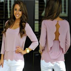 099078718afb2 Backless Double Burn Chiffon Hollow Wavy Edge Top Pink--- Size  M L  Boutique Tops. Club Factory