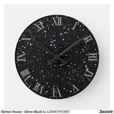 Glitter Stars2 - Silver Black Round Clock