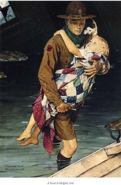 A Scout Is Helpful - Norman Rockwell