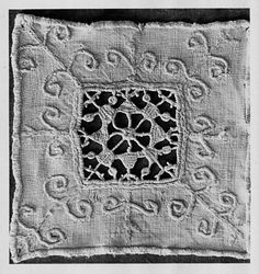 Fragment  Italian, 17th to 19th century  DIMENSIONS  Overall: 10 x 10 cm (3 15/16 x 3 15/16 in.)  MEDIUM OR TECHNIQUE  Linen, plain weave, embroidered with linen thread with looping, button hole and chain stitches Cut work  CLASSIFICATION  Textiles  ACCESSION NUMBER  07.387, Fragment, either used in furnishing or on a costume. A geometrical, wheel like design in the center is formed with 4 triangle and 4 square shapes. Some surface embroidery surrounds the central design.