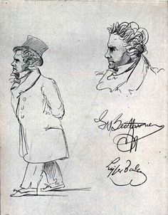 Caricatures of Ludwig van Beethoven (1815).   These pencil sketches show Beethoven walking the streets of Vienna deep in thought and with not a great deal of attention to his appearance. The signatures of Beethoven and of the artist –Johann Peter Theodor Lyser (1803-70)– are included on this artwork.