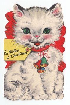 Vintage Greeting Card Christmas Cute Die-Cut Kitten Cat Hallmark 1940s