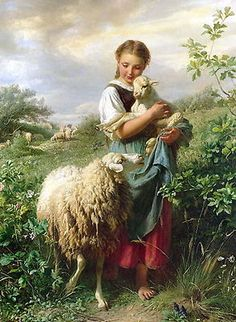 Art Print Victorian Farm Girl Shepherdess