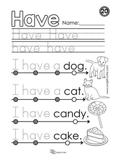 Beginning Reading 20 - Have - English Unite Printable Preschool Worksheets, Sight Word Worksheets, Reading Worksheets, Array Worksheets, Kindergarten Learning, Kindergarten Worksheets, Fun Learning, Teaching Sight Words, Kids English