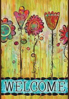 The fun and colorful Toland Home Garden Welcome Blooms Flag brings art to your garden or home. This flag is made of machine-washable polyester and may. Side Garden, Lawn And Garden, Home And Garden, Graffiti Flowers, Flags For Sale, Yard Flags, Evergreen Flags, Iris Garden, Prayer Flags