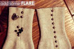boot socks, sweater, winter, diy,