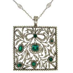 Edwardian/Art Deco. Titanium, Gold, Emerald and Diamond Pendant on a Platinum Chain, c1910. Luv this pendant