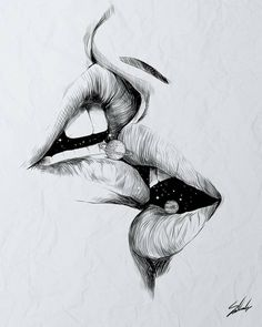 Find images and videos about love, art and black and white on We Heart It - the app to get lost in what you love. Tumblr Art Drawings, Art Drawings Sketches, Cool Eye Drawings, Lip Drawings, Drawing Lips, Art Drawings Beautiful, Beautiful Artwork, Pixel Tattoo, Kissing Drawing