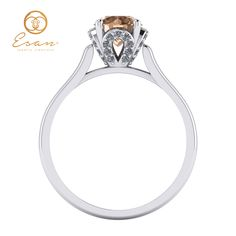 Inel din aur cu diamant coniac si diamante ES152 Caramel, Engagement Rings, Jewelry, Sticky Toffee, Enagement Rings, Candy, Wedding Rings, Jewlery, Bijoux